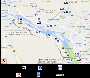 【釣り場周辺マップ】九頭竜川・滝波川の一部(勝山市) 駐車場・入川・トイレ・温泉