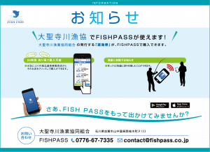 【お知らせ】新加入 大聖寺川漁協(石川県)のFISHPASS遊漁券が購入できます